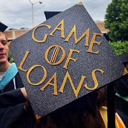 gameofloans decorated graduation caps